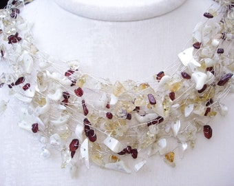Wedding Necklace, White Yellow Wine Red gemstones, Summer Weddings, Natural Gemstone Jewelry, Bohemian Silver Wire wrapped Romantic Heirloom