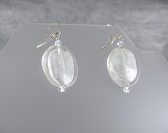 Venetian Glass Silver Dangle Earrings