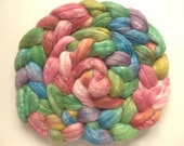 Hand Painted Merino/Bamboo/Tussah Silk 50/25/25 Roving. 4 Ounces for spinning or felting