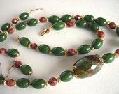 ON SALE -Jade Necklace Set, Gemstone Necklace, Semiprecious Necklace, Moss Green Jade Necklace