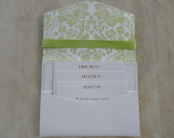 150 DIY Pockets for Wedding Invitations, Bat Mitzvah, Spring Green and White Shimmer,  Do It Yourself Pocket Invitations