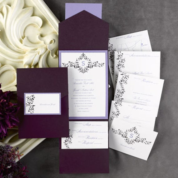 72 diy pockets for wedding invitations eggplant purple like this item solutioingenieria Gallery
