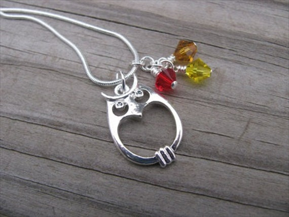 Owl Necklace- Silver- with Red, Orange, and Yellow Swarovski Crystal Accent Beads