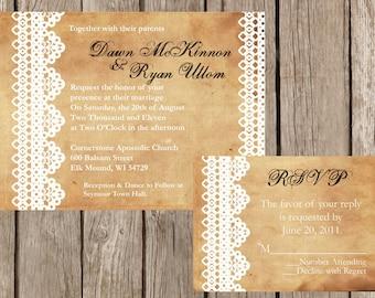 Custom Rustic Lace Wedding Invitation, Vintage Lace Wedding Invitation, Western Wedding Invitation