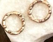BRONZE Artisan Circle Links 2 Dotted Circles - Great Bracelet Focal APB46
