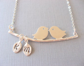 Personalized Necklace, Silver Love Bird Necklace with Two Initial Pendant Necklace, Mothers Necklace, Anniversary Gift, Gift for Her