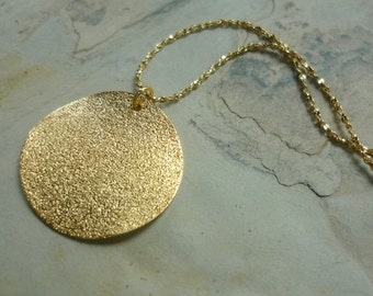 Golden Disc Necklace, Gold Plated Necklace, Circle Pendant, Delicate Necklace, Simple Necklace, layering necklace, Fine Gold Plated Chain