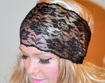 Lace Headband Black Women Headband Stretch Wide Headwrap Vintage Wide Headband Girly Mothers Day Gift Birthday Fashion