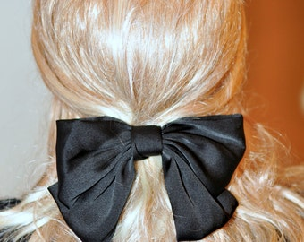 Bow Black Big Bow Barrette Women Hair CHOOSE COLOR Black Bow Girly Cute Gift under 25