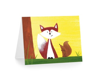 Fox and Squirrel Blank Greeting Card & Envelope