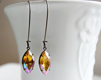 Yellow Topaz Earrings - Aurora Borealis Earrings - Yellow Glass Earrings - Amber Pear Shaped Earrings - Honey Topaz Crystal Drop Earrings