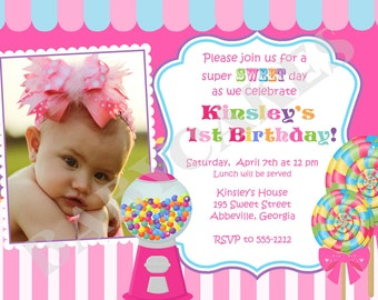 Sweet Shoppe Birthday Invitation Candyland Birthday - DIY Print Your Own - matching party printables available