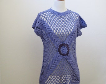 SALE-Purple Short Sleeved Tunic Sweater
