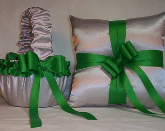 Silver Satin With Kelly Green Ribbon Trim Flower Girl Basket And Ring Bearer Pillow