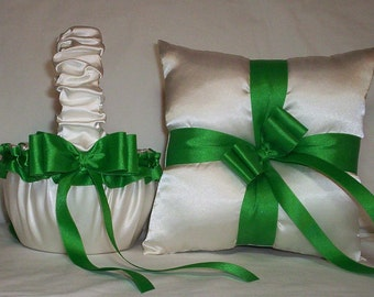 Ivory Cream Satin With Kelly Green Ribbon Trim Flower Girl Basket And Ring Bearer Pillow