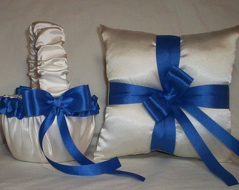 Ivory Cream Satin With Horizon Blue Ribbon Trim Flower Girl Basket And Ring Bearer Pillow