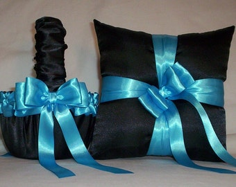Black Satin With Turquoise  Blue Ribbon Trim  Flower Girl Basket And Ring Bearer Pillow  Set   2