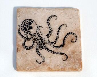 Black Geometric Octopus Coaster (1 Stone Coaster) Ocean and Beach Home Decor
