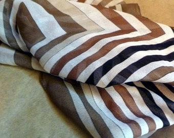 Scarf, geometric pattern in browns and white
