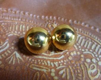 2 pairs Goldtone Earrings, Pierced  , 1980's