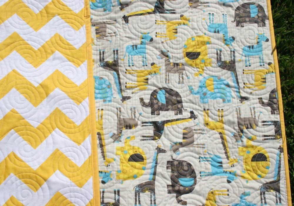Baby Neutral Safari Elephant Crib Bedding Quilt
