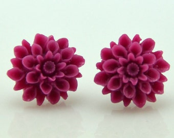Purple Retro Dahlia Earrings