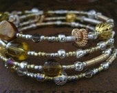 Beaded Memory Wire Bracelet Multi Strand Non Tarnish Silver and Gold Wrapped Bracelet