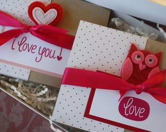 Valentine Crush Felt Owl Pink and Red Polka Dot Kraft Boxed Notecard Set