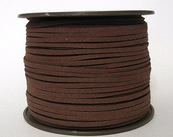 Faux Suede  Lace Leather Cord Flat Caramel 3x1.5mm-20ft