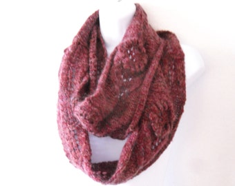 Mauve Infinity Scarf , Clearance Sale , Cranberry Mohair Scarf , fall accessories , knitted lace infinity scarf , Knitted Scarf with flowers