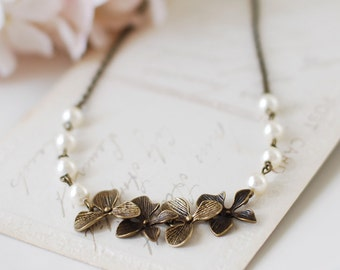 Brass Orchid Necklace. Swarovski Cream Pearls Orchid Flowers Necklace. Vintage Style Wedding Necklace. Bridal Necklace, mothers day gift