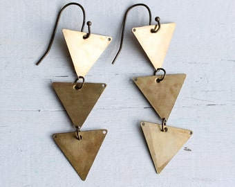 Arrow Triangle Earrings .. Geometric Vintage Brass Modernist Deco