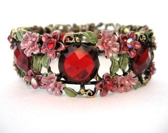 Vintage Rhinestone Enamel Bracelet - Pink and  Red