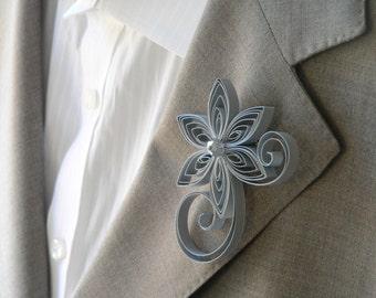 Silver Boutonniere, Silver Buttonhole, Silver Wedding Boutonniere, Mens Wedding Boutonnieres
