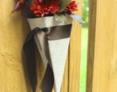 Flower Girl Basket or Aisle Cone. Shown in Natural Linen and Chocolate Brown. Custom Order. Size Small.
