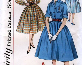 Simplicity 2627 Vintage 50s Junior and Misses' Dress with Transfer for Monogram Sewing Pattern - Uncut - Junior Size 13 - Bust 33