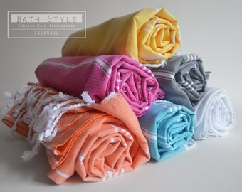 SALE 50 OFF / SET 6 / Turkish Beach Bath Towel / Classic Peshtemal / Warm Gray - White - Yellow - Pink - Orange - Blue