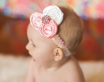 Beautiful Pink and White Rosette Headband Nb to adult sizes