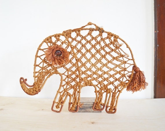Summer Sale Large Vintage Macrame Elephant Wall Decor Wall
