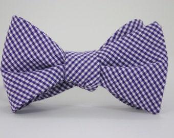 Purple Check Bow Tie