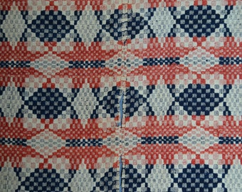 Antique Overshot Coverlet Red and Blue 1800s