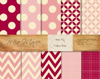 INSTANT DOWNLOAD - Valentine Digital Papers Scrapbooking Backgrounds Pink, Red, Chevron, Stripes, Circles, Polka Dots Printable 12x12 jpg