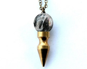 TALISMAN black tourmaline & quartz crystal ball spike necklace