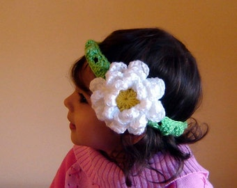 PDF Instant Download Crochet Pattern No 087 Big Flower Headband All sizes