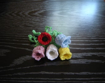 PDF Instant Download Crochet Pattern No 121 Bell Flower with a Stem Applique