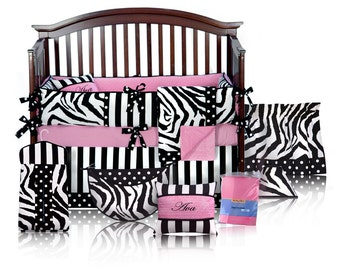 Ava 5pc BABY GIRL Zebra Crib Bedding Set - Custom Made