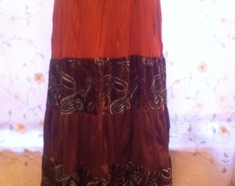 SMALL, Tiered Mult-Colored Bohemian Hippie Skirt