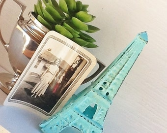 Eiffel Tower -Cast Iron-In Aquamarine -French Decor-Desk Topper-Shabby Chic-Home Decor-Beach House Decor -Romantic Gift-Distressed