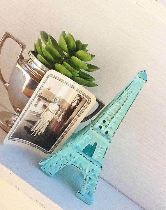 Eiffel Tower -Cast Iron-In Aquamarine -French Decor-Desk Topper-Shabby Chic-Home Decor-Beach House Decor -Romantic Gift-Distressed