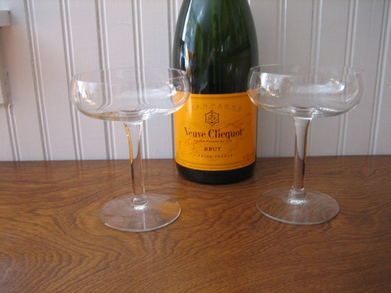 Modern Coupe Crystal Champagne Glasses Pair By